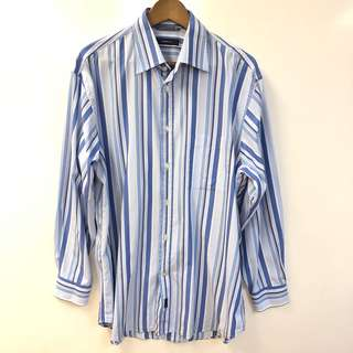 Men blue stripes shirts size XL間條恤衫