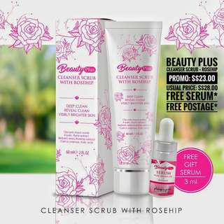 🚚 💖 Beauty Plus Cleanser Scrub + Rosehip ❤