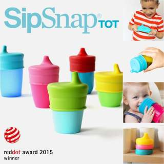 SipSnap TOT Universal Silicone Sippy Lid, Blue Quench - Double Double Drink Cover Kid's Drinking Lid Vessel Spill-Proof Stretchy For Baby Kid Toddler Cups Feeding Travel Boon Snug Spout 婴幼儿学饮吸嘴杯盖