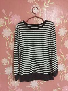 Sweatshirt/pullover black and white stripes