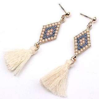 Rhombic Drop Tassel Dangling Earrings 3
