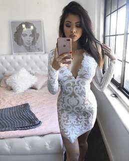 White nude lace long sleeve dress
