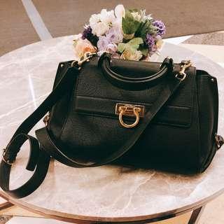 Authentic Salvatore Ferragamo Sofia Medium Pebbled Tote Bag