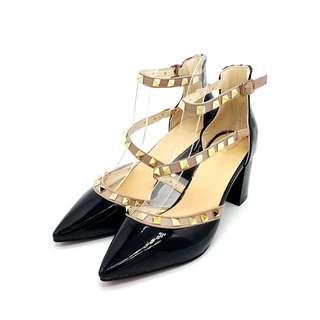 Calvin K Pointed Blok Heels (Black)