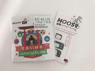 日本docomo8日4G無限上網卡