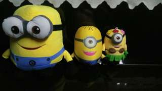 "3 lovely Minion soft plush toys 15"" & 8"""
