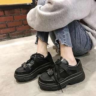 2018夏季新款韓版小白鞋女松糕鞋系帶厚底低幫休閒鞋平底單鞋女潮
