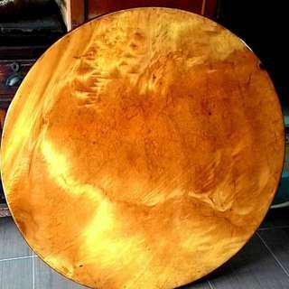 台灣檜木 瘤花圓桌 直徑90公分厚2公分