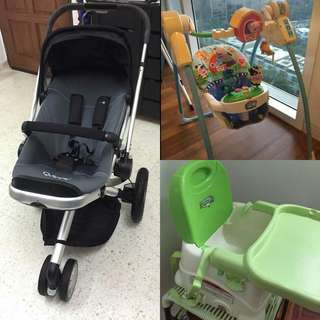 Quinny Buzz Stroller, Fisher Price Musical Swing, Travel Baby Seat + various sizes of diapers (new)