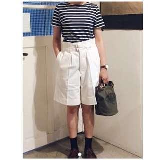百慕達短褲 中高腰褲 古著 vintage 中性 白短褲 A room model Bermuda Short Pants