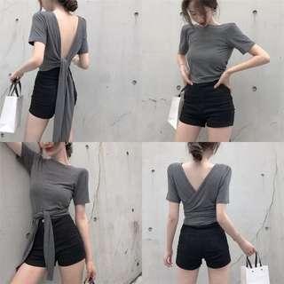 2018夏季新款修身性感露背綁帶上衣冷淡風短款短袖T恤打底衫女裝