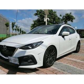 2015年魂動Mazda 3 白色(FB:桃園阿福_優質中古車)