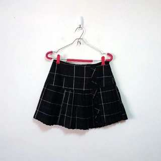 學院風毛料格紋百褶短裙