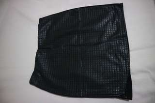 Black skirt with front leather design