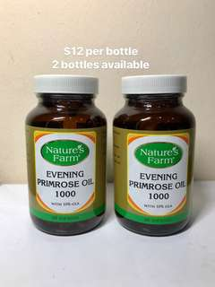 Nature's Farm Evening Primrose Oil. 1000mg. Cold Pressed. 10% GLA. $12 per bot. 2 bot available. Expiry 10/2019
