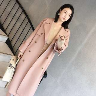 Silky cotton pink maxi coat