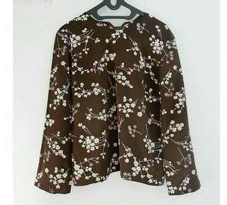 Flower dark brown blouse