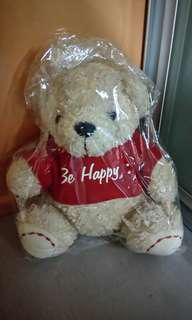 "BE HAPPY 8"" soft fury bear"