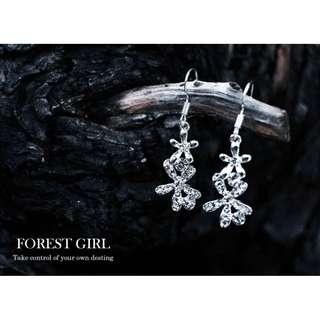 森林少女 水鑽結晶花 耳針 耳環 奢華喜宴 耀眼奪目 抗敏鋼針