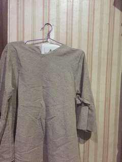 blouse semi panjang coklat