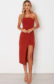 White Fox Boutique True Love Midi Dress Rust