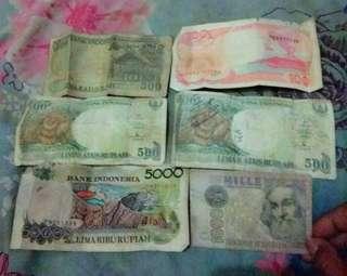 Uang kertas lama 100.500.5000