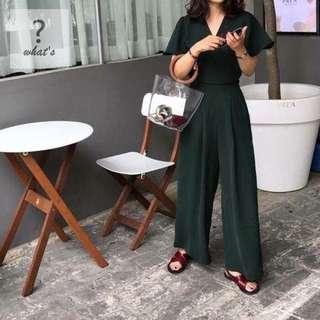 🚚 Korea 🇰🇷 V領波浪袖連身寬褲裝
