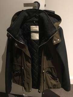 Zara khaki jacket coat