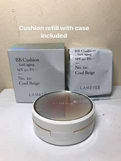 Laneige BB Cushion. Refill. Anti-aging. No21C. Cool Beige. Case included. Expiry 09/2019