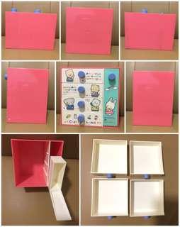 Sanrio Cherry Chum 1986 年 5 桶膠櫃 (15 高 x 11 深 x 15 濶 cm) 櫃桶新淨, 櫃底及頂部有明顯用過痕跡 (** 只限北角地鐵站交收 **)