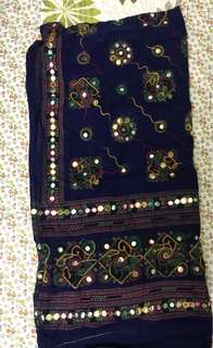 Embroidery dupta with plastic mirror work