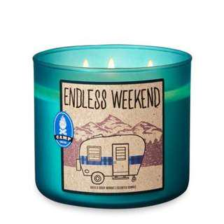 New BBW ENDLESS WEEKEND 3-Wick Candle