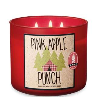 New BBW PINK APPLE PUNCH 3-Wick Candle