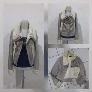 Grey Suede Anggora Jacket
