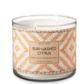 New BBW SUN-WASHED CITRUS 3-Wick Candle