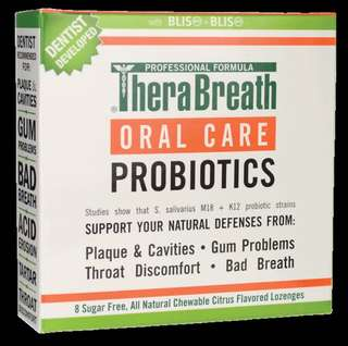 Instock TheraBreath Oral Care Probiotics Citrus Flavour 8 Sugar Free Lozenges