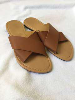 Brown Strappy Flats