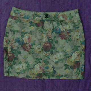 Floral printed bodycon denim skirt#augpayday