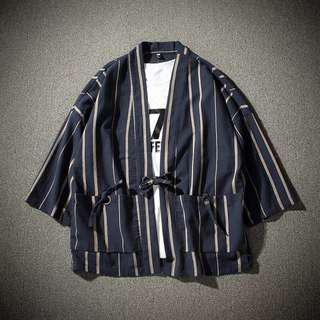 🚚 日系條紋道袍和服男原宿風外套寬鬆和風開衫大碼七分袖