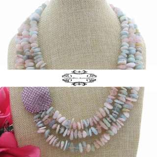 18K Gold Multi Strand Multicolor Natural Genuine Morganite Crystal Necklace 18K 金多層多彩天然真摩根石水晶晶石項鍊