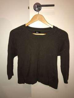 Dotti khaki knit crop size S