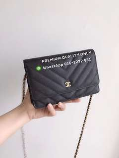 Boutique quality Chanel Chevron Wallet On Chain