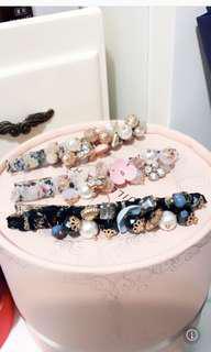 珍珠彩珠髮夾