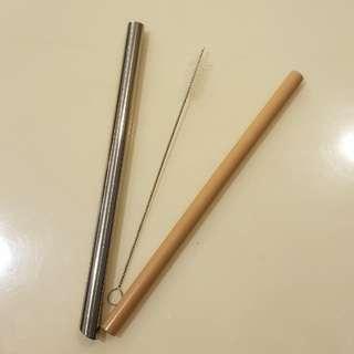 Straw set with brush