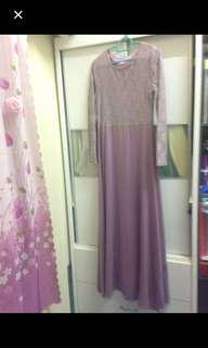 Purple lace dress satin