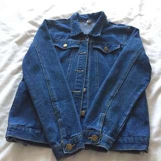 🚚 深藍色網美牛仔長袖外套中長版
