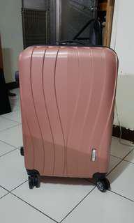 (全新)24吋玫瑰金金屬髮絲紋行李箱