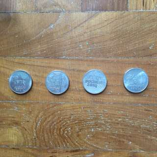 Russian 25 ruble coins - 4 pcs