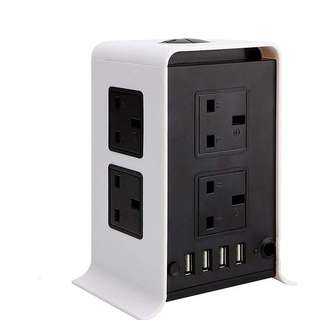 1445. EletecPro 4 USB Ports 8 Way Outlets Tower Power Strip Vertical Socket