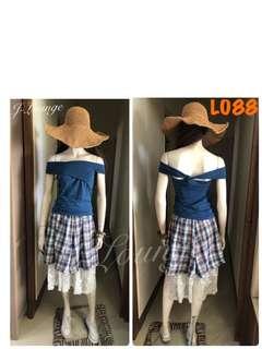 🚚 L088全新日本棉麻格紋蕾絲假兩件中長裙氣質文青小清新學院上學上班森女 skirt J-Lounge
